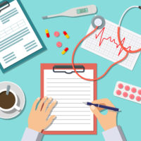 graphic of a medical assistant's hand filling out paper work with medicine, a stethoscope, thermometer, patient chart, and coffee on the table